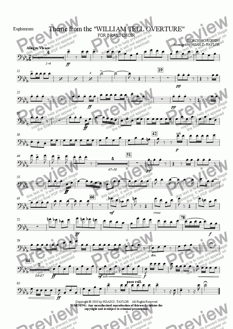 "page one of the Euphonium part from Theme from the ""WILLIAM TELL OVERTURE"""