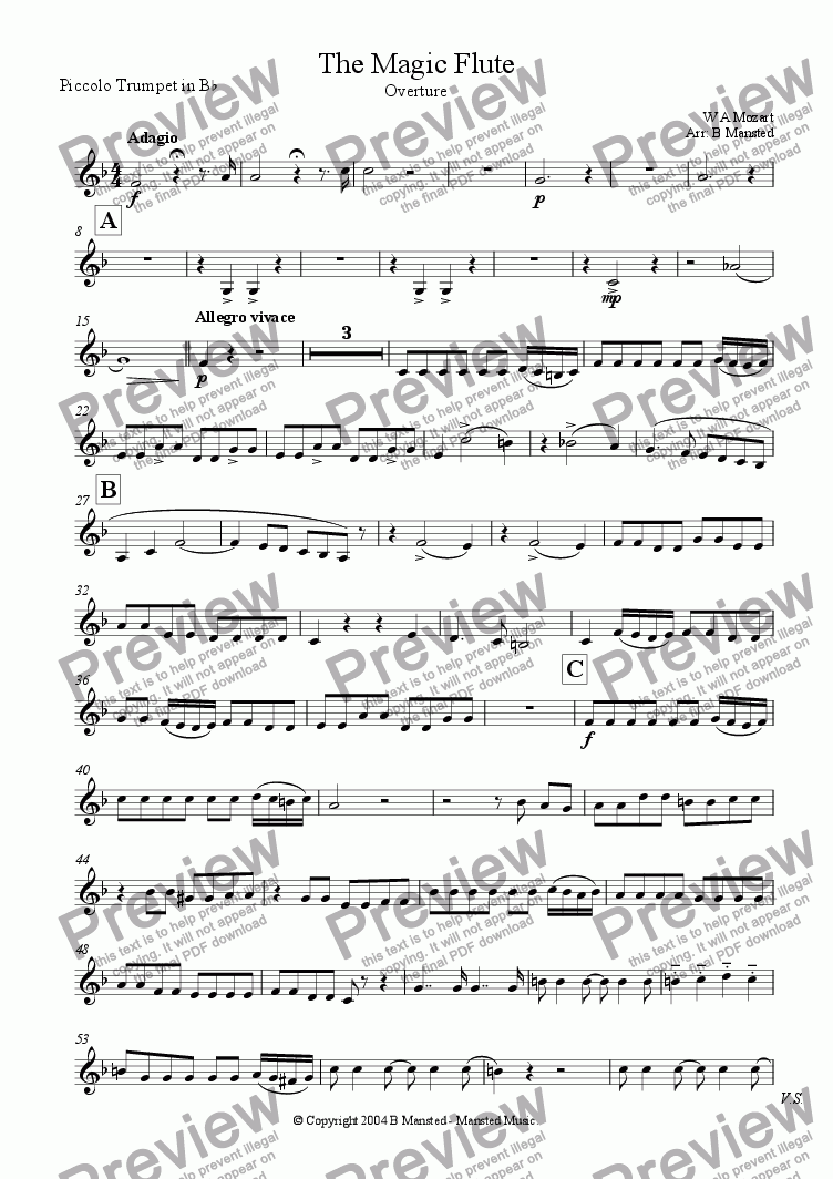 page one of the Piccolo tpt in Bb part from The Magic Flute overture