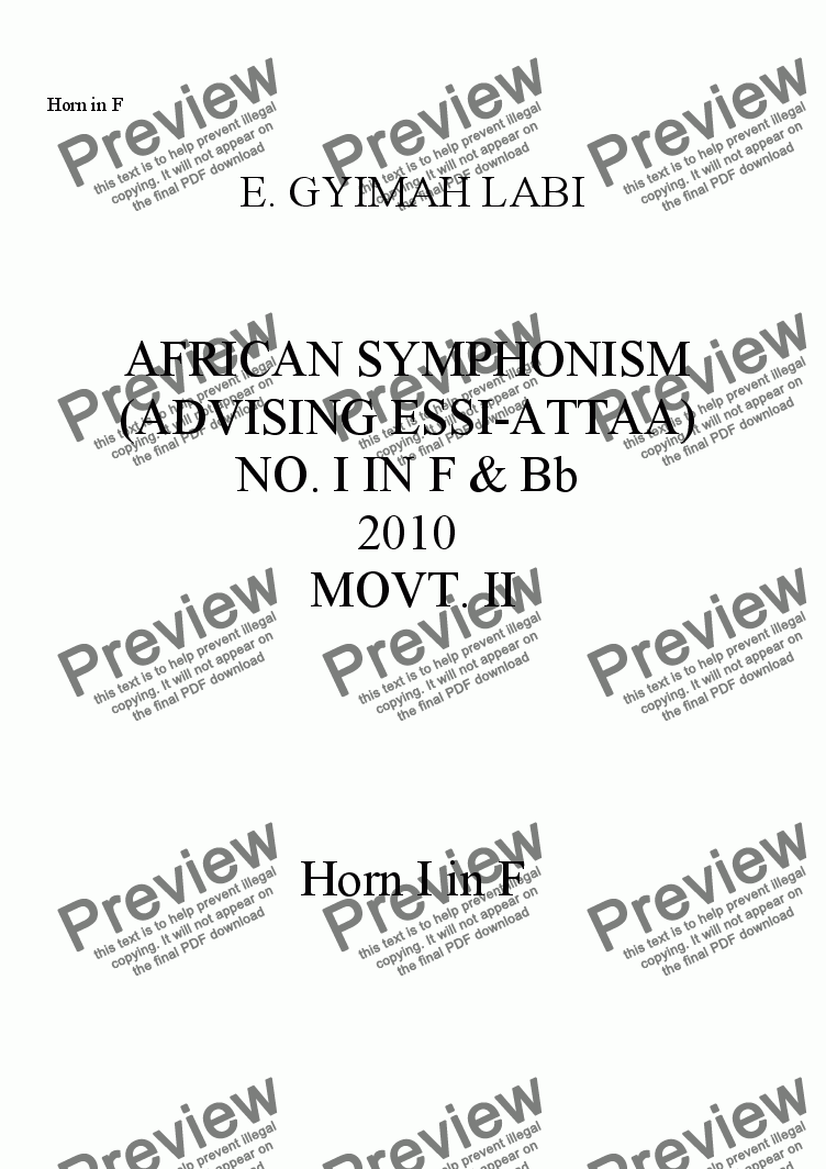 page one of the Horn I in F part from FIRST AFRICAN SYMPHONISM IN F & Bb, MOVT. II (FINAL)