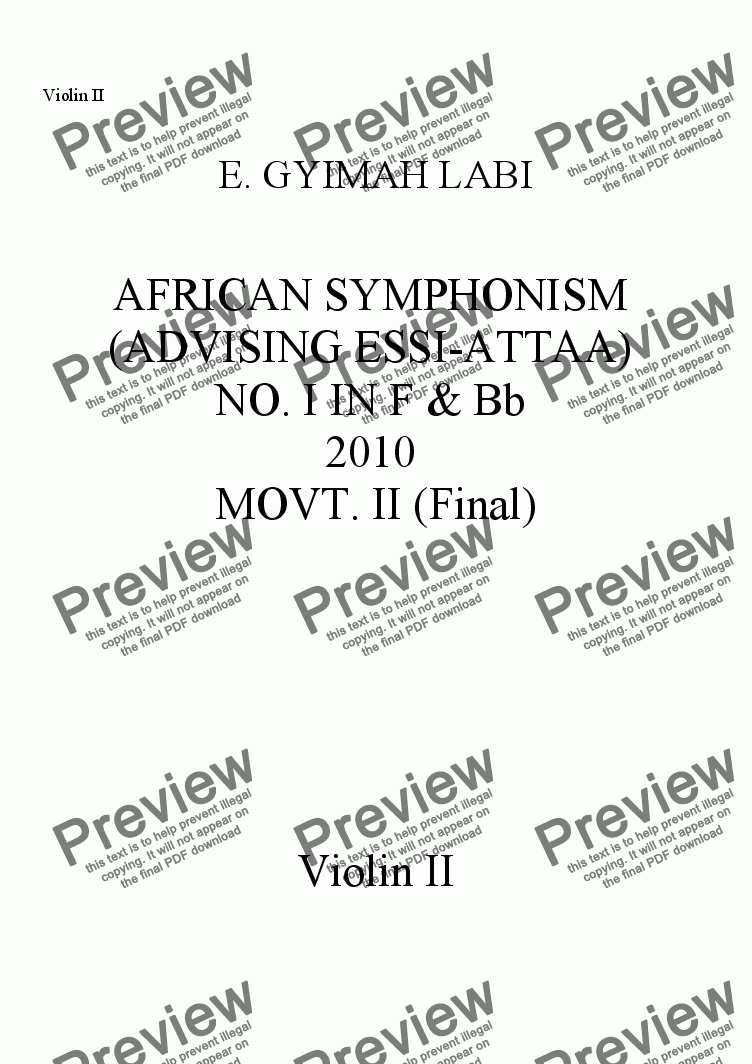 page one of the Violin II part from FIRST AFRICAN SYMPHONISM IN F & Bb, MOVT. II (FINAL)