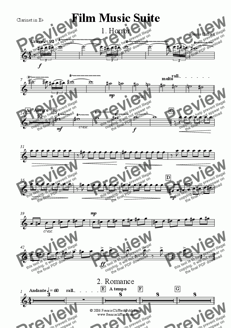 page one of the Clarinet in Eb part from Film Music Suite (Wind Band Version)