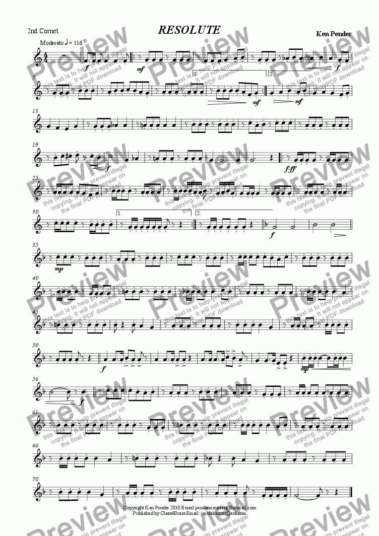 page one of the 2nd cornet part from Resolute