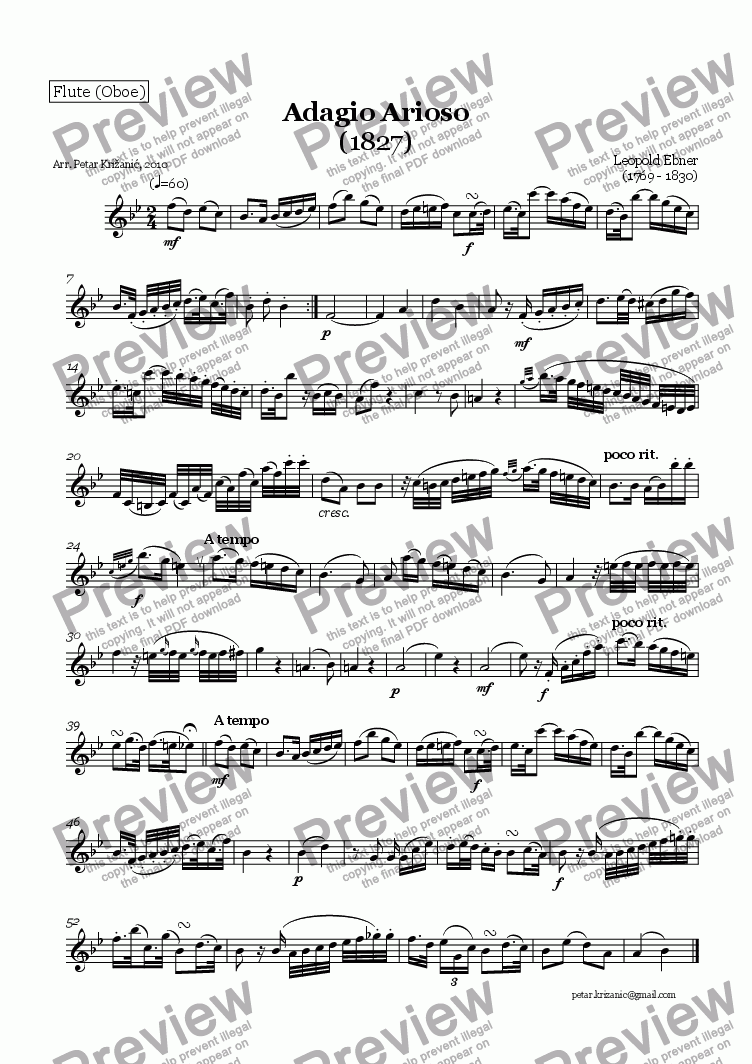 page one of the Flute (Oboe) part from Adagio Arioso (L. Ebner) - for Flute(Oboe), Clarinet in Bb and Bassoon
