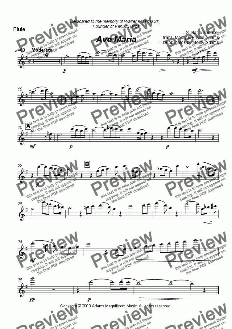 page one of the flute 2 part from Ave Maria (Bach-Gounod) arranged for 3 Flutes and Harp