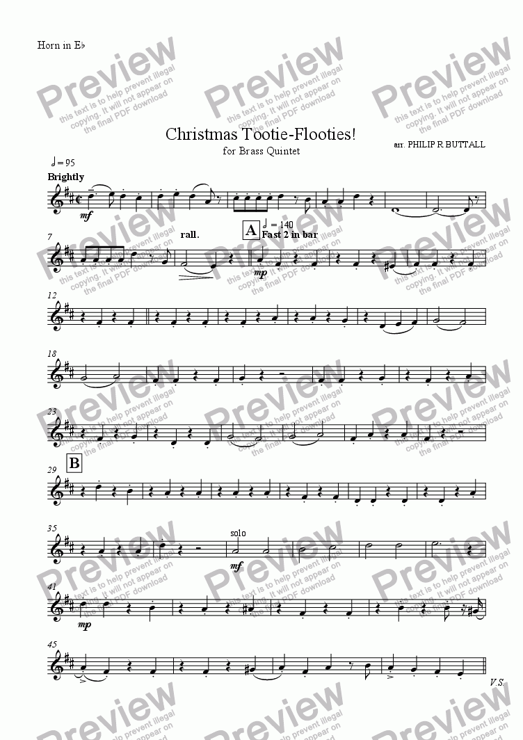 page one of the Horn in Eb part from Christmas Tootie-Flooties! (Brass Quintet)