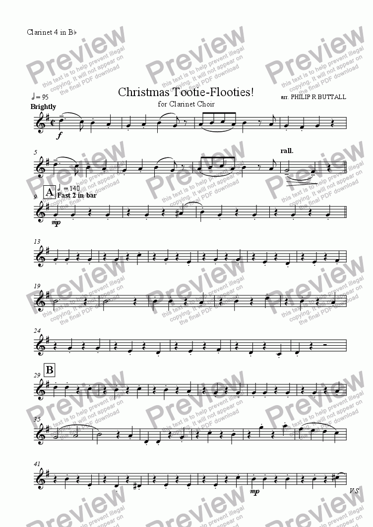 page one of the Clarinet 4 in Bb part from Christmas Tootie-Flooties! (Clarinet Choir)