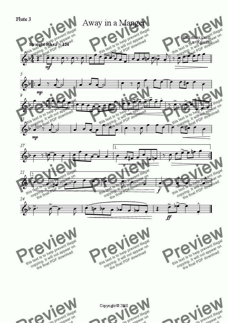 page one of the Flute 3 part from Away in a Manger - Jazz Carols Series - for Flute Quartet