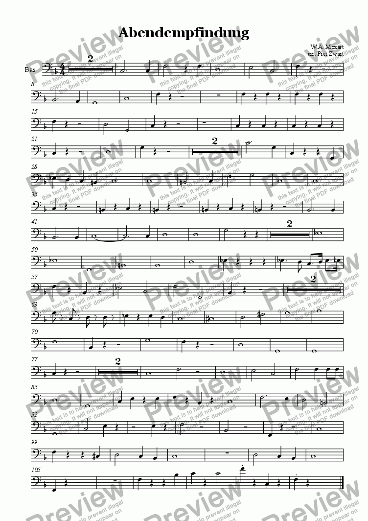 page one of the bas part from Abendempfindung (Mozart)
