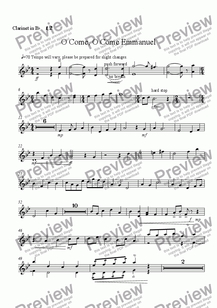 page one of the Clarinet Bb 1,2 part from O come, O come, Emmanuel