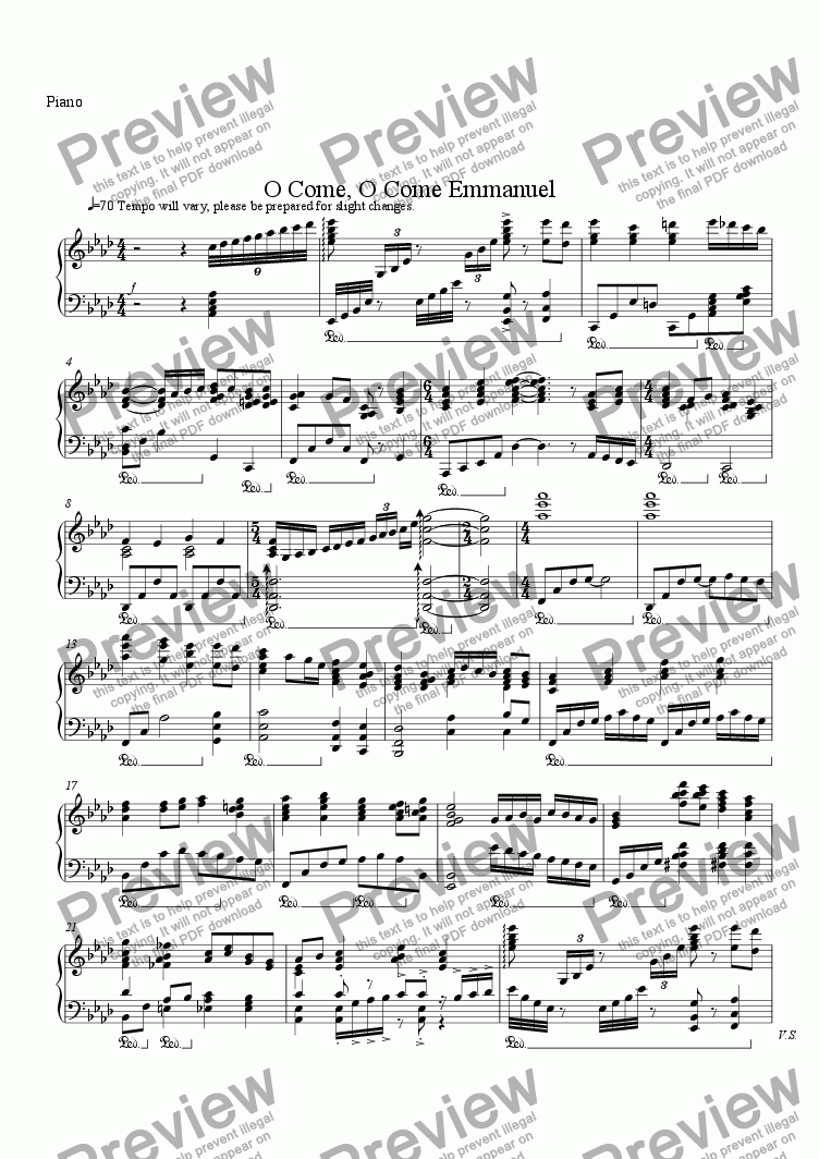 page one of the Piano part from O come, O come, Emmanuel
