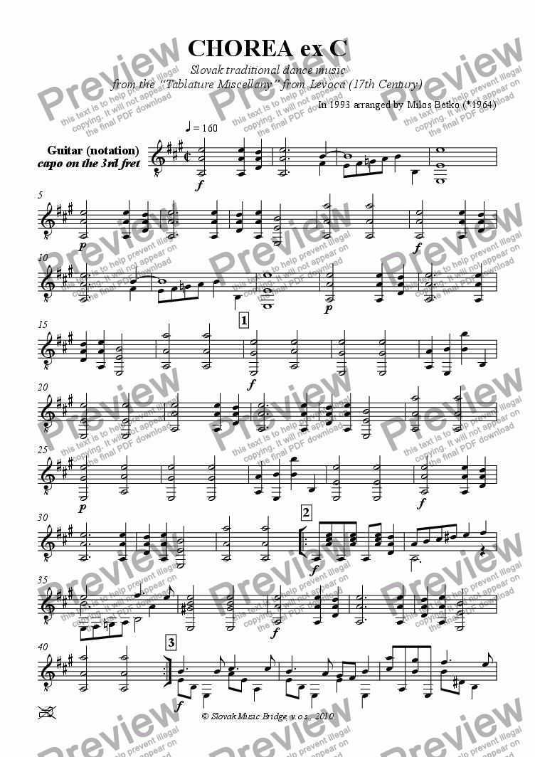 page one of the Guitar (notation) part from Tablature Miscellany from Levoca > Chorea ex C