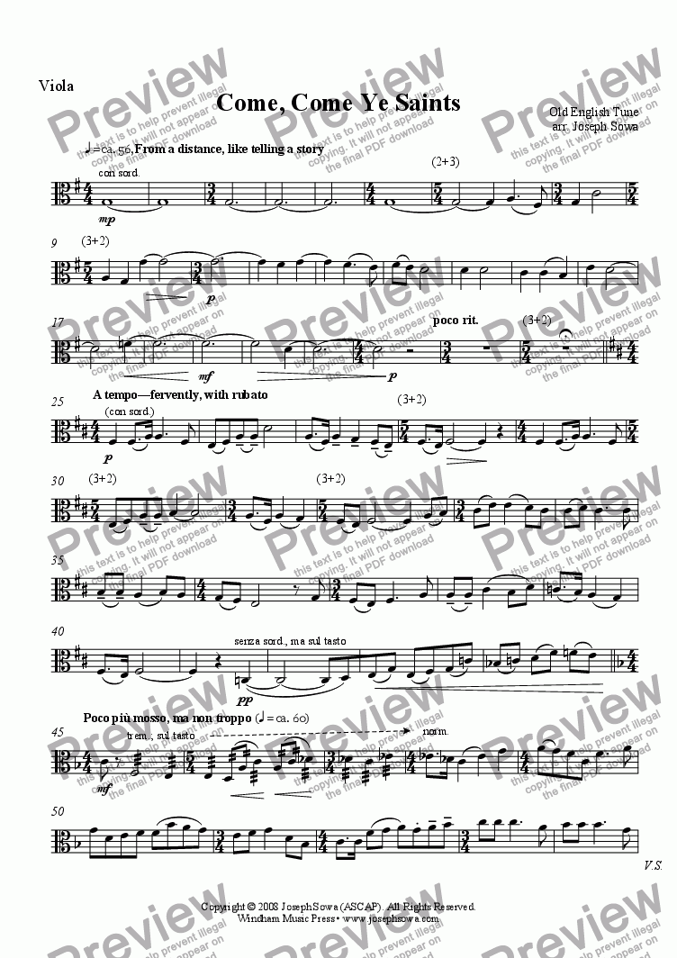 page one of the Viola part from Come, Come Ye Saints