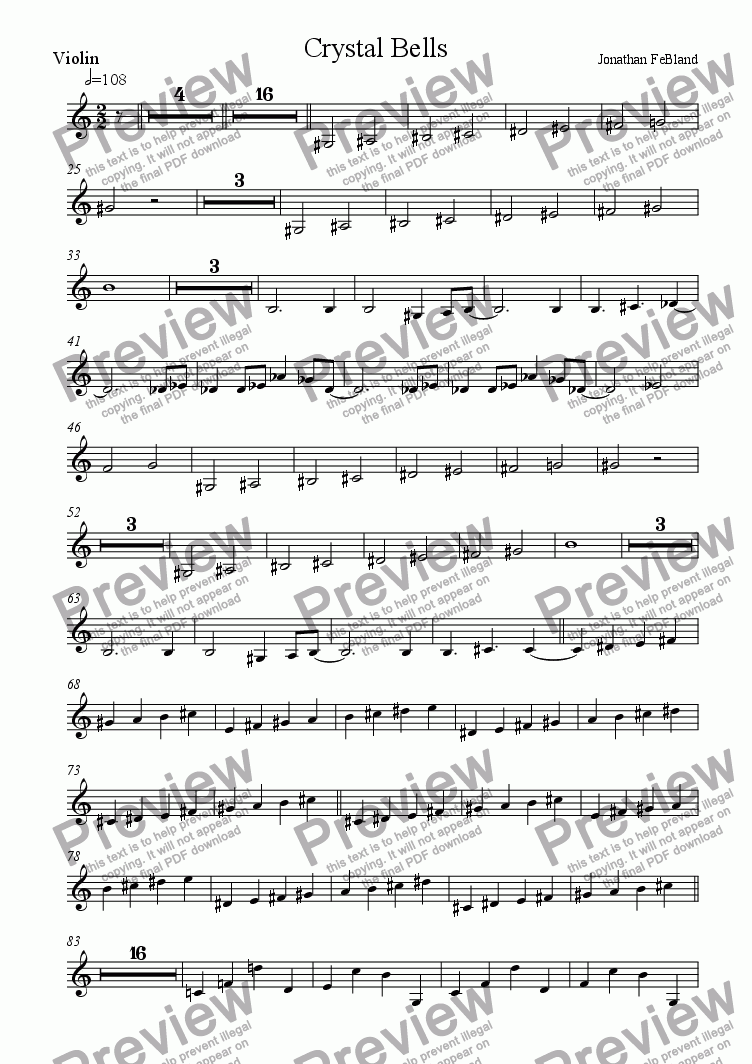 page one of the Violin part from Crystal Bells