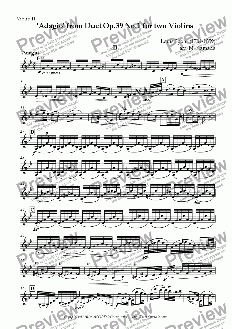 page one of the Violin II part from 'Adagio' from Duet Op.39 No.1 for two Violins