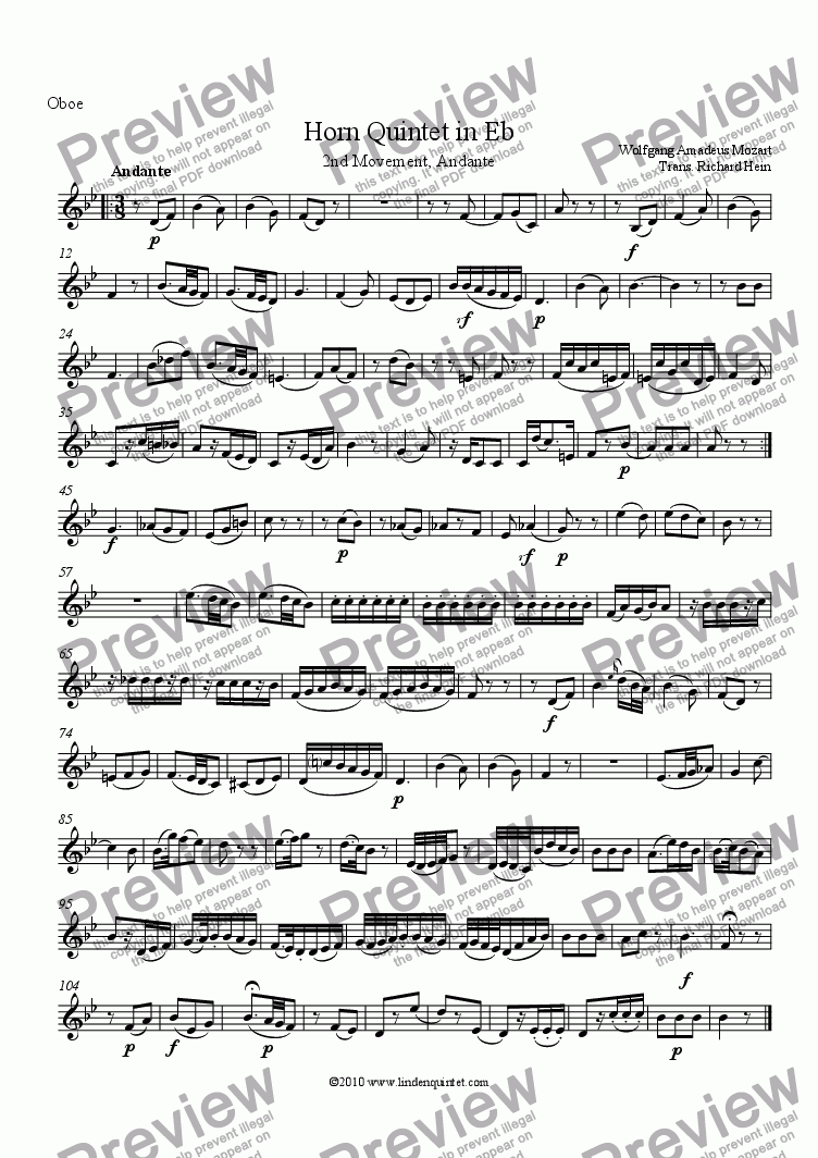 page one of the Oboe part from Mozart - Horn Quintet KV 407 Movement 2 Andante