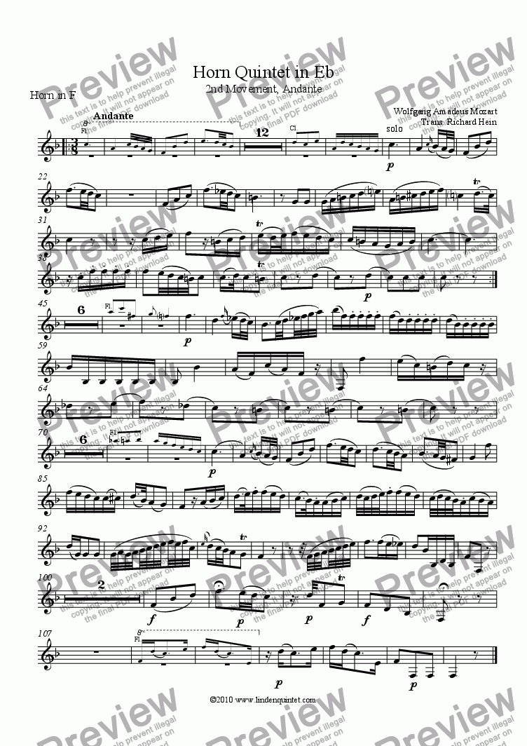 page one of the Horn part from Mozart - Horn Quintet KV 407 Movement 2 Andante