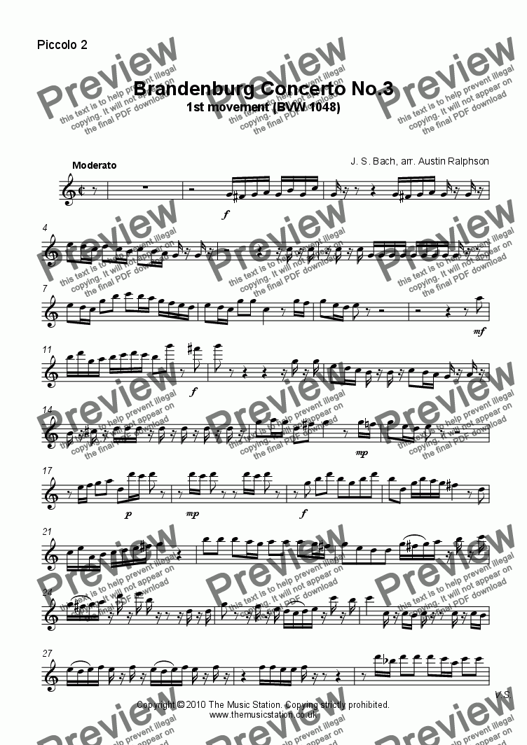 page one of the Piccolo 2 part from Brandenburg Concerto No.3, 1st movement - flute quintet