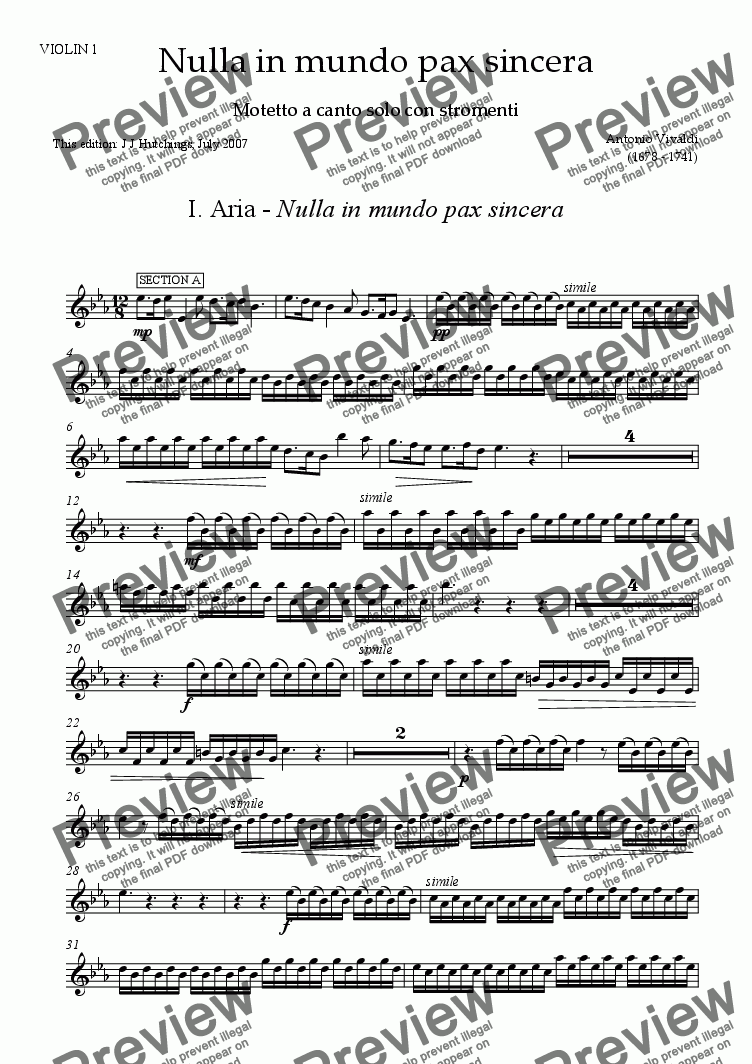page one of the Melody Instrument in C [vln/fl/ob] part from Vivaldi - Nulla in mundo pax sincera (complete) [S, Vln, Vlc & Keyboard]