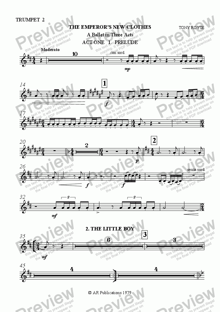 page one of the Trumpet 2 part from Ballet: The Emperor's New Clothes (Act 1 #1) The Little Boy