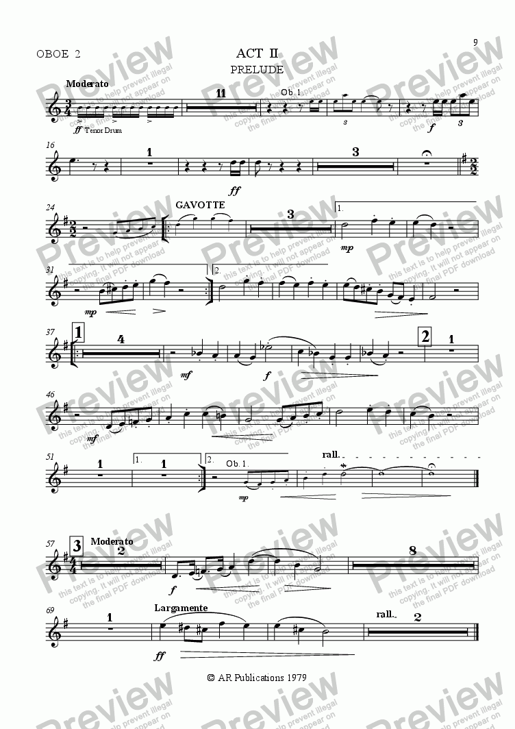 page one of the Oboe 2 part from Ballet: The Emperor's New Clothes (Act 2 #1) Emperor's Palace.