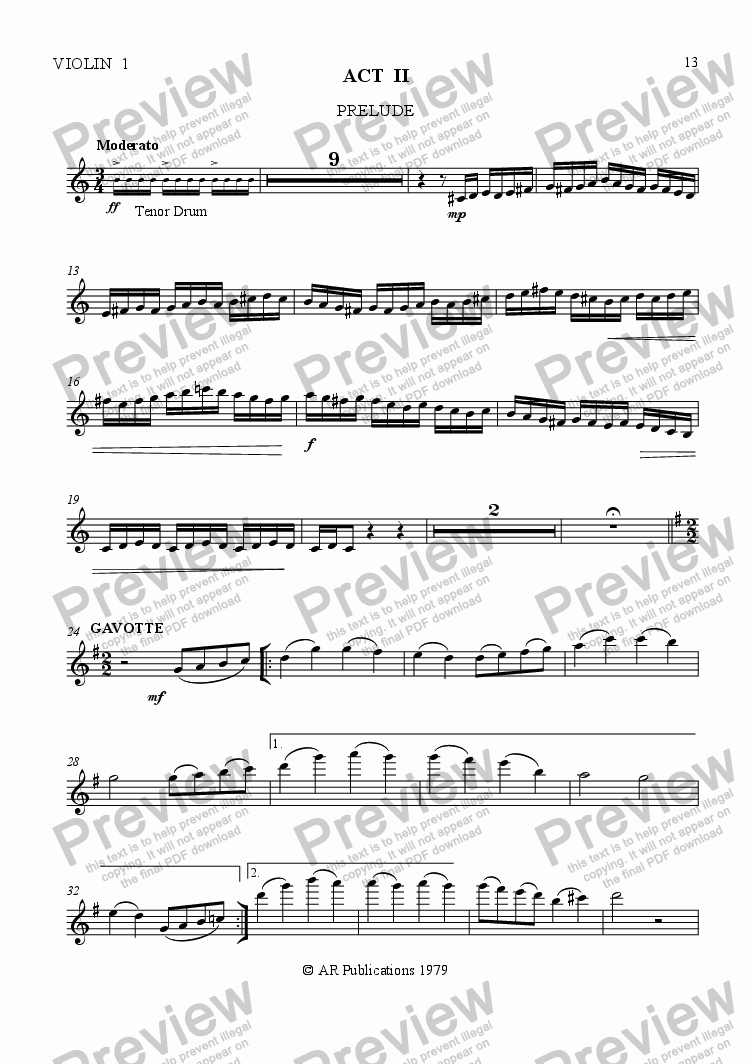 page one of the Violin 1 part from Ballet: The Emperor's New Clothes (Act 2 #1) Emperor's Palace.