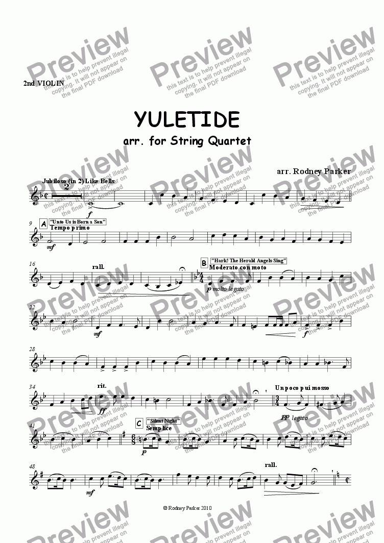 page one of the 2nd Violin part from Yuletide arr. for String Quartet