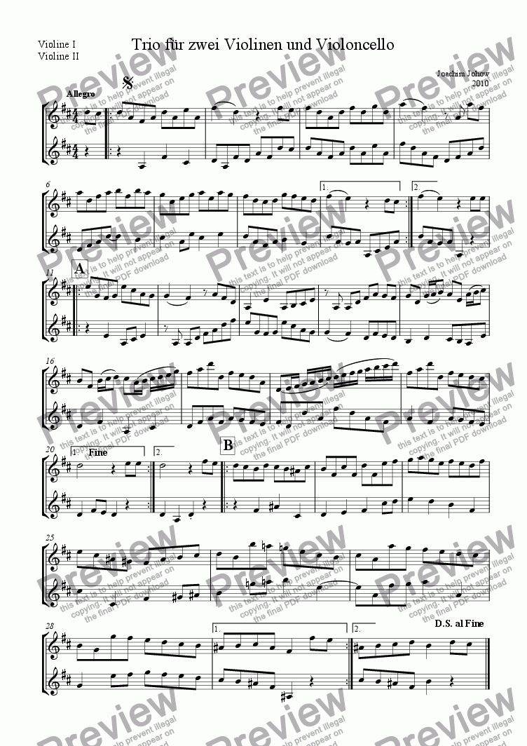 page one of the Vl 1 / 2 part from Trio for 2 violins and cello in D