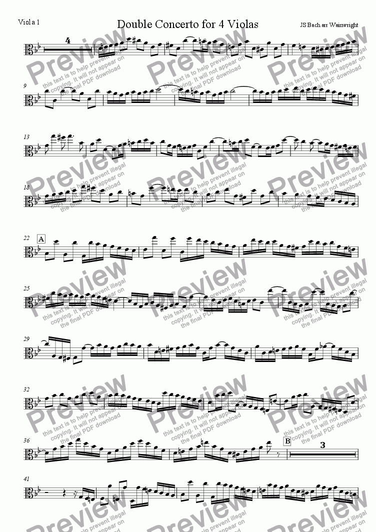 page one of the Viola 1 part from Double Concerto for 4 Violas
