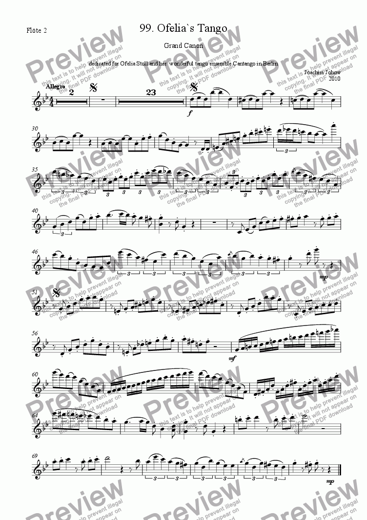 page one of the 2. Fl part from Grand Canon 99 (Ofelia`s Tango for 3 flutes, piano, bass)