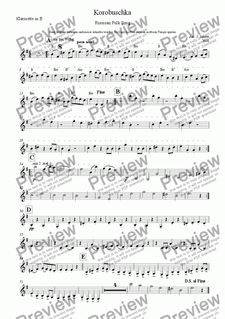page one of the Cl B part from Russian folk song   Korobuschka  for folk music ensemble