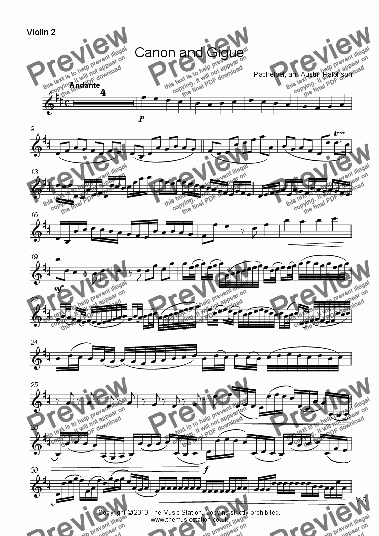 page one of the Violin 2 part from Canon and Gigue - string quartet