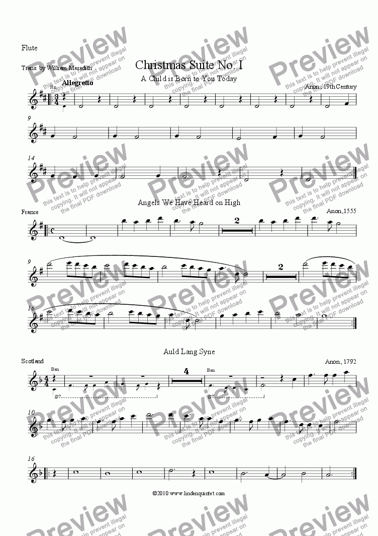 page one of the Flute part from Linden Quintet Christmas Suite No. I