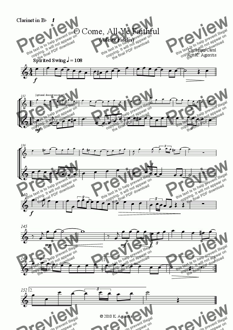 page one of the Clarinet 1 part from O Come All Ye Faithful (in 4/4)- Jazz Carol for Clarinet Quartet