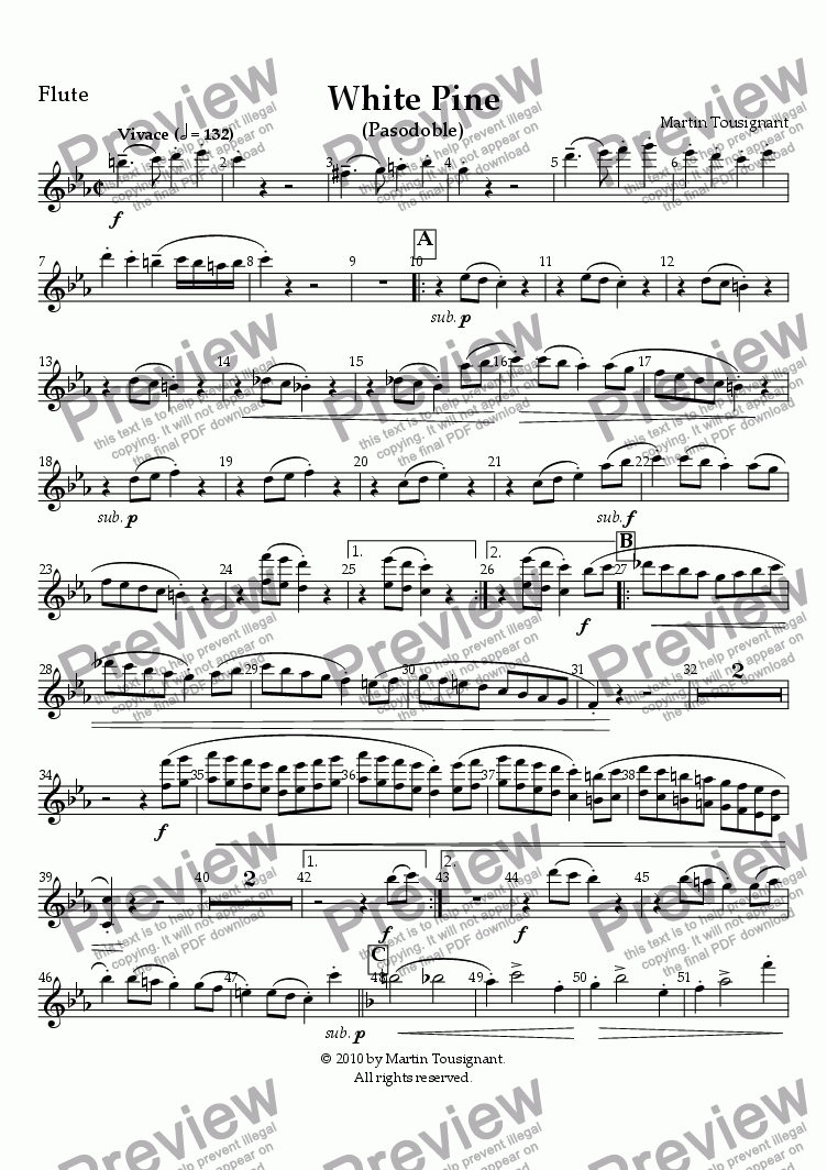 page one of the Flute part from White Pine (Large Wind Band)