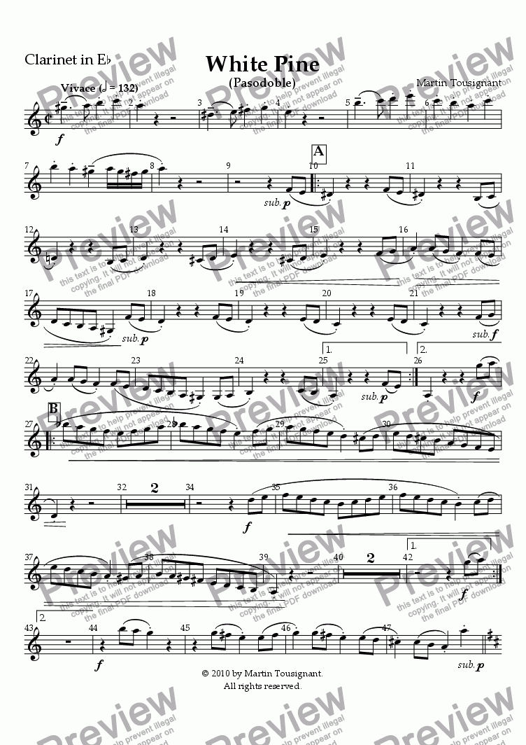 page one of the Eb Clarinet part from White Pine (Large Wind Band)