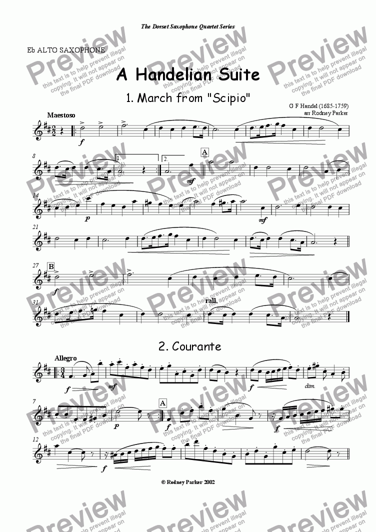 page one of the Alto Saxophone part from A Handelian Suite for Saxophones