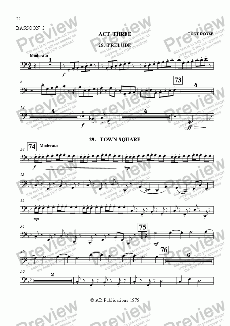 page one of the Bassoon 2 part from Ballet: The Emperor's New Clothes (Act 3#1) Town Square; Inn Keeper & Barmaids