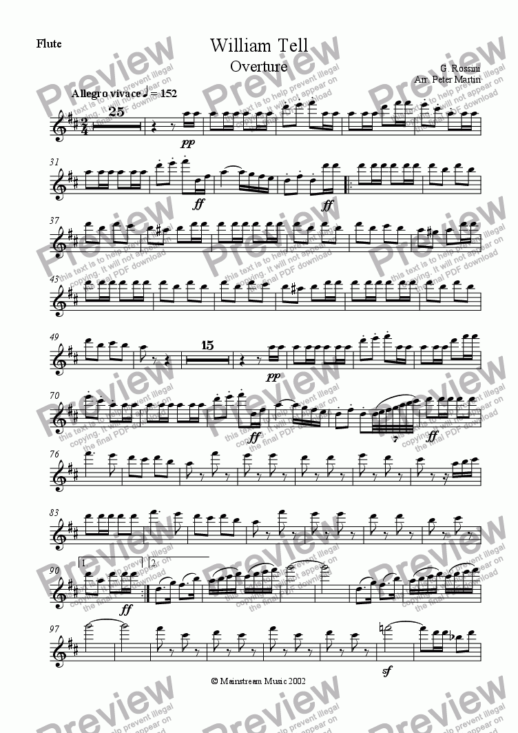 page one of the Flute part from William Tell Overture
