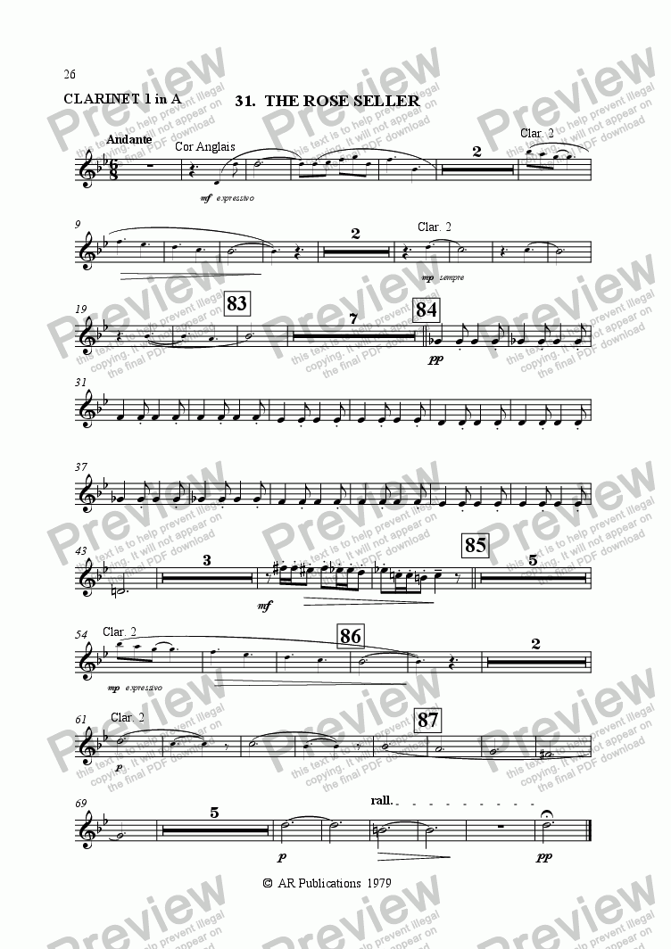 page one of the Clarinet 1 (in A) part from Ballet: The Emperor's New Clothes (Act 3#2) Rose-seller