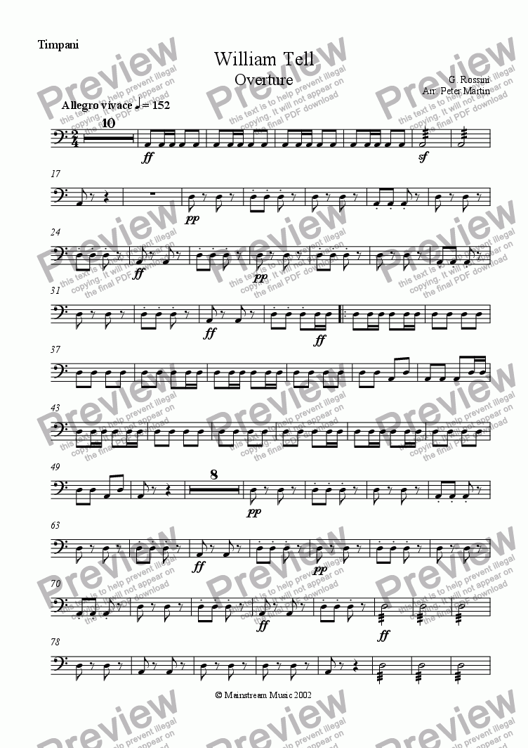 page one of the Timpani part from William Tell Overture