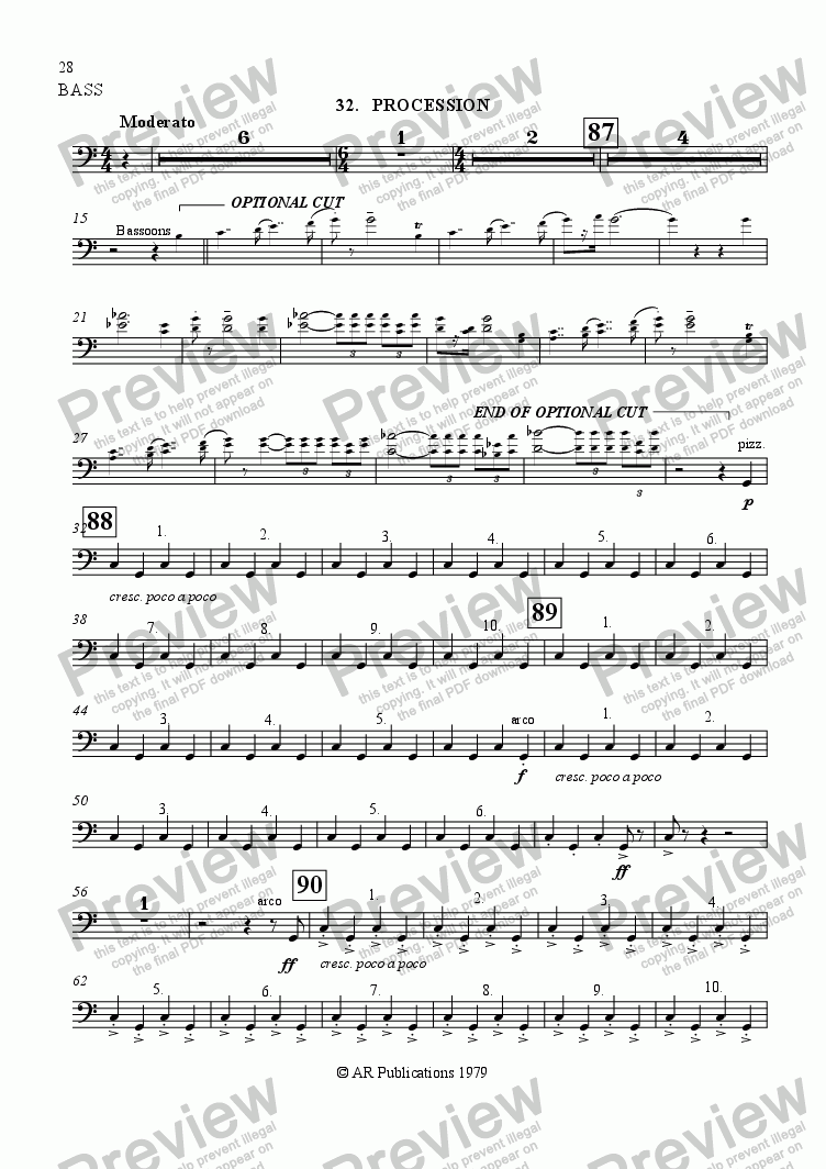 page one of the Bass part from Ballet: The Emperor's New Clothes (Act 3#3) Procession: Swindler's capture & Finale