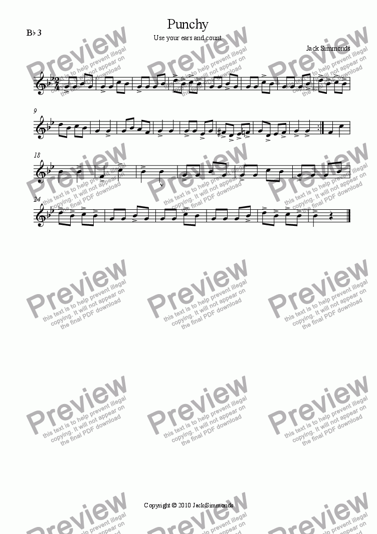 page one of the Bb 3 (Baritone/Euphonium) part from Punchy