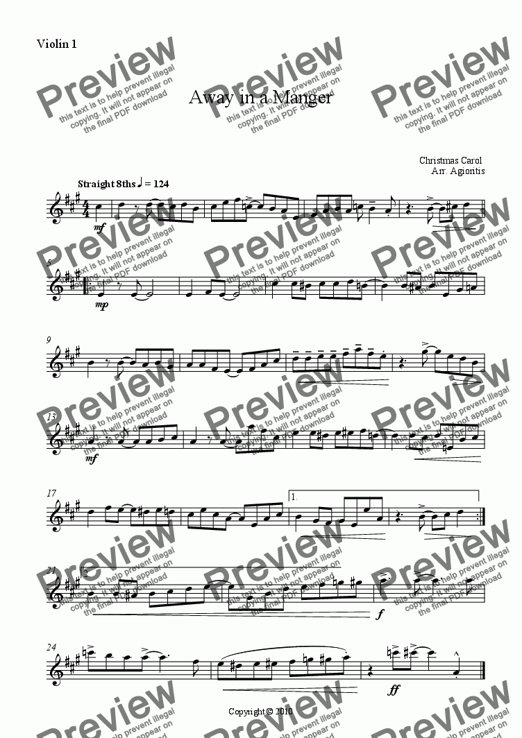 page one of the Violin 1 part from Away in a Manger - Jazz Carols Series - for String Quartet