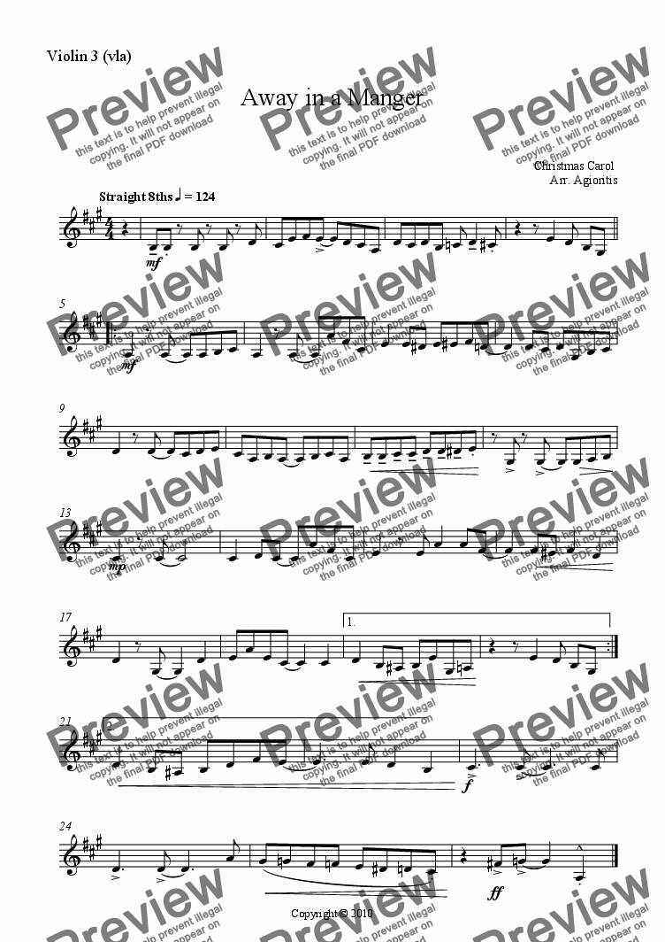 page one of the Violin 3 (vla) part from Away in a Manger - Jazz Carols Series - for String Quartet