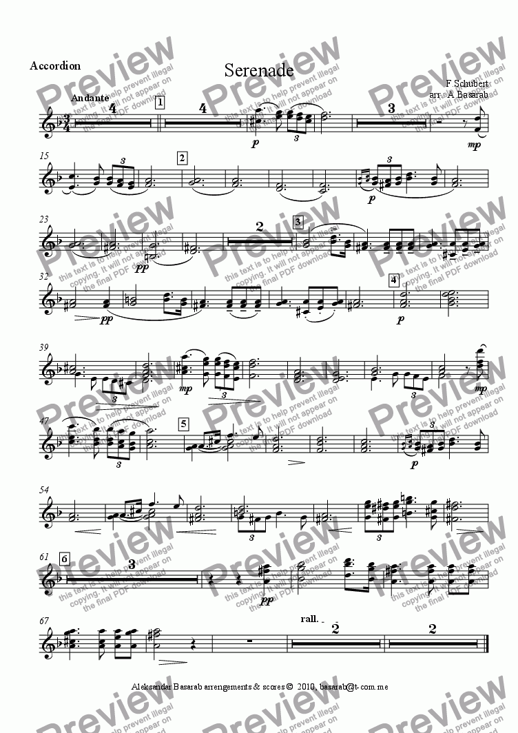 page one of the Accordion part from Schubert - Standchen (Serenade) arr. for Violin, Cello, Accordion & Piano)