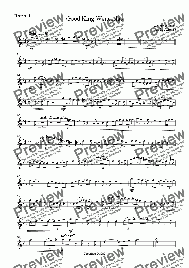 page one of the Clarinet 1 part from Good King Wenceslas (triple swing) - for Clarinet Quartet