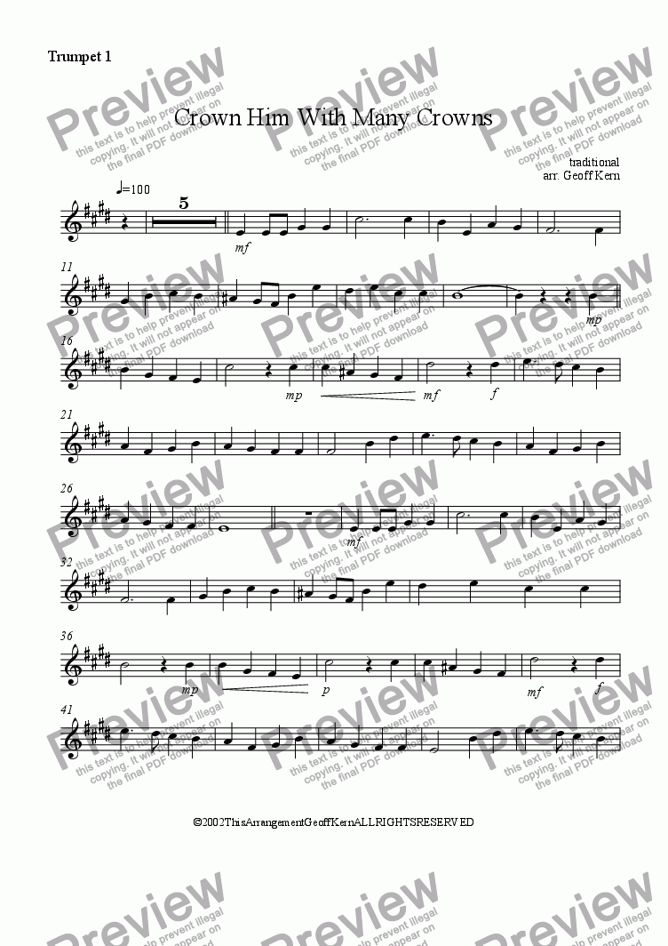 page one of the Trumpet 1 part from Crown Him With Many Crowns