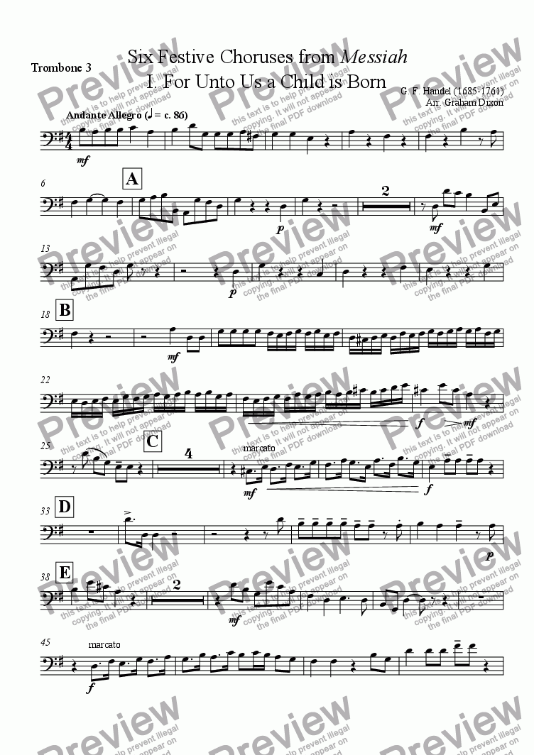 page one of the Trombone 3 part from Handel's Messiah - Six Festive Choruses for Brass Ensemble