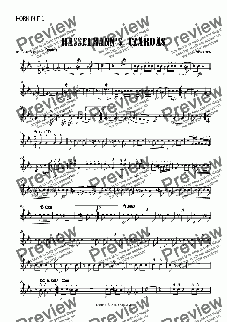 page one of the Horn 1 part from Hasselmann's Czardas