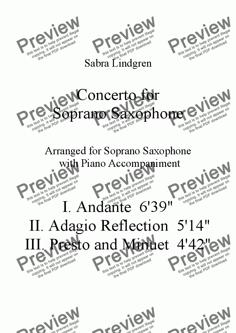 page one of the Solo Soprano Saxophone part from Concerto for Soprano Saxophone, II. Adagio Reflection, for Solo Soprano Saxophone with Piano Accompa
